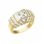 14K Solid Yellow Gold ring with 2.0 cts. center Octrillion stone flanked by beautiful jewels. Stones are cut to fit precisely together with no spaces between them for a stunning solid diamond look. A fraction of the $35,000 you would have to pay for a sim