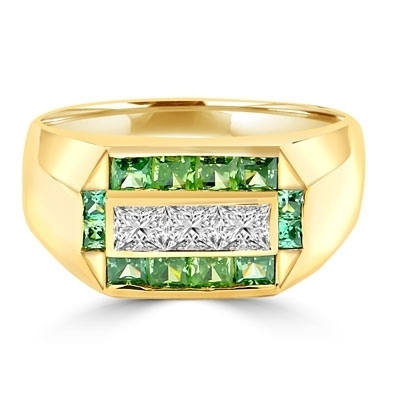 Man's Ring with 0.75 cts, Radiant Square Diamond Essence Center Stones surrounded by 1.0 cts. Princess Cut Emerald Essence, channel set in 14k Solid Yellow Gold.