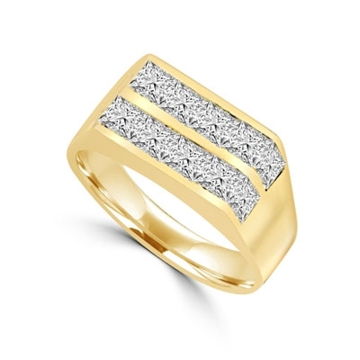 A winning look-14K Solid Yellow Gold man's channel set ring, 1.25cts. t.w. with Princess cut Diamond Joy stones.