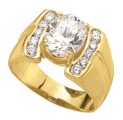 14K Solid Yellow Gold man's ring, 3.20 cts.t.w. with oval cut center stones and melee accents.