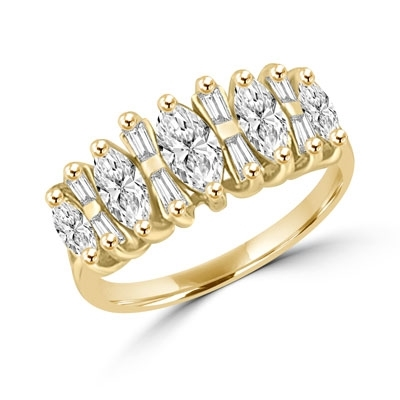 Wedding band with Marquise Cut and Baguette beauties, 2.25 Cts. T.W. in 14K Solid Gold.