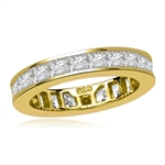 Timeless Eternity Band with Channel set Princess Cut Diamond Essence stones, 1.25 Cts.T.W. set in 14K Solid Yellow Gold.