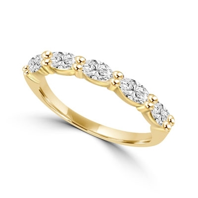 Simple delicate band 1.25 Cts. T.W. with 0.25 Ct Marquise Cut 5 Diamond Essence stones in 14K Solid Gold.