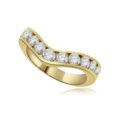 V-shape with eleven round stones gold ring