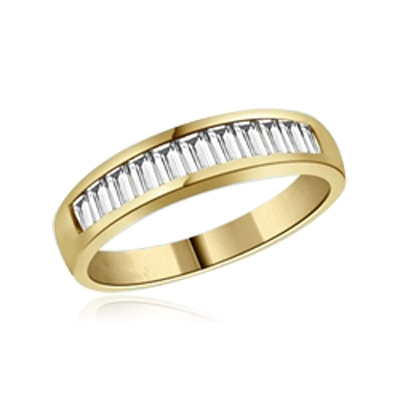 ring - yellow gold baguette band