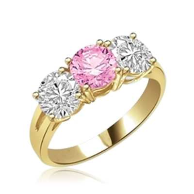 Three-Stone-Ring--Precious pink Diamond Essence diamond, 2.0 Cts. with Diamond Essence side stones, 4.0 Cts. T.W. set in 14K Solid Yellow Gold.