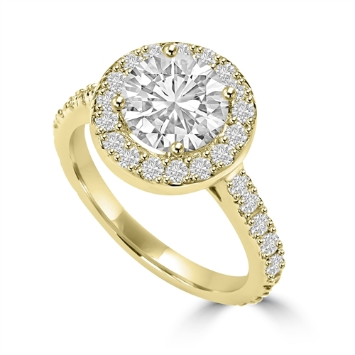 Diamond Essence Halo Setting Designer Ring With 2 Cts. Round Center and Melee around And On The Band, 4.50 Cts.T.W. In 14K Solid Yellow Gold.