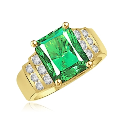 Emerald and Diamond Essence Ring in Solid Gold