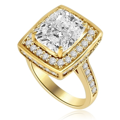 Cocktail Ring - Cushion cut Diamond Essence in Center With Melee around center Stone and on band. 6.5 Cts T.W. set in 14K Solid Yellow Gold.