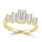 Helene - Beautiful Ring with 1.0 Ct. Emerald Cut Center accentuated with Baguette Masterpieces, 2.75 Cts. T.W, in 14K Solid Gold.