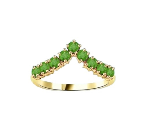 Stacking Ring V-shaped Emerald ring in 14K Solid Yellow Gold