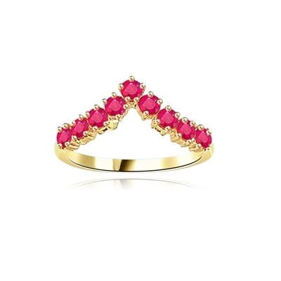 Stacking Rings-V-shaped Ruby rings in yellow gold