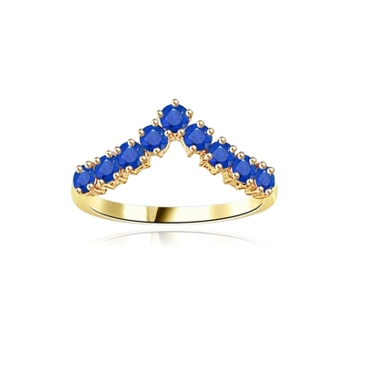 Stacking Rings-V-shaped Sapphire rings in yellow gold