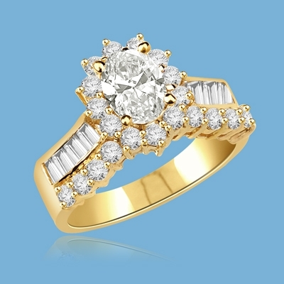 Toccata - Simply Elegant Ring, 2.0 Carats T.W., with a 1.0 Carat Oval Cut Center Stone and Accents. You will show them what you can do!