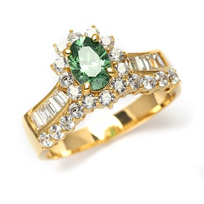 Toccata - Simply Elegant Ring, with a 1.0 Ct. Oval Emerald Center Stone and Accents.You will show them what you can do! 2.0 Cts. T.W. set in 14K Solid Yellow Gold.