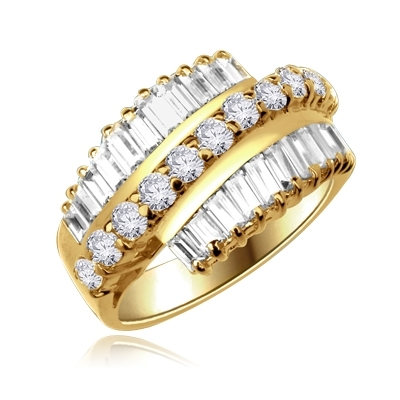 Flourish - Brilliant Ring, 5 Cts. T.W, with Baguettes on two side bands surrounding a Melee of Round Diamond Essence Fireworks! In 14K Solid Gold.