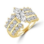FLASH DANCE- Ever classic 14K Solid Gold ring, 3.40 cts.t.w. in all, with 2.0 cts. t.w. marquise cut Diamond Essence center stone and three rows of channel set round Diamond Essence piece on each side. A virtuoso event.