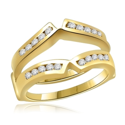 Classic Ring Guard in 14K Solid Gold. 0.9 carat Diamond Essence round melee set in channel setting. Suitable for 1 carat or 2 carat solitaire ring.
