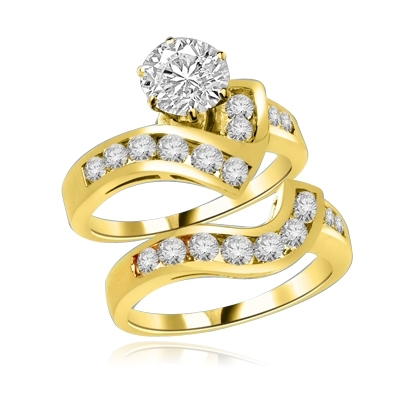 Radames And Aida-Wedding Set in 14K Solid Gold, 1.8 Cts.T.W. with 1 Ct. Solitaire and Curvy Channel Set Melee Accents. Show of your Celestial Beauty and Starry Love!