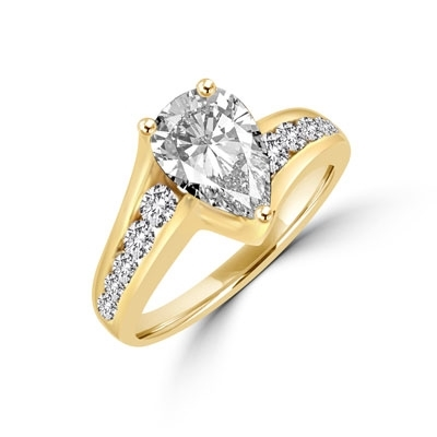 La Jolla. 2.0 Cts. t.w. in all, with 1.5 carat Pear cut Diamond Essence center stone, and 0.50 ct. Diamond Essence melee lighting up each side. set in 14K Solid Yellow Gold.
