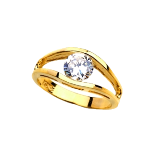 Subtle and strong Friendship Ring, 1.0 Ct. T.W with a delicate Round Solitaire nestled in stylish split shank of 14K Solid Yellow Gold