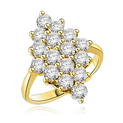 Queen Of Diamonds - Cluster Ring, 1.6 Cts. T.W with Melee Stones appropriately set in a glittering Diamond shape. 14K Solid Gold.