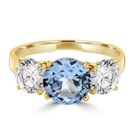 Ring – 3 stone ring, 2 ct center, 1 ct on sides