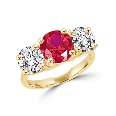 Ring – round ruby stone, round brilliant stones on sides