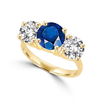 Ring – round sapphire stone, round stones on sides