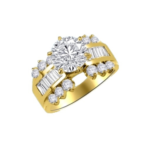 14K Solid Gold ring, 3.5 Carats T.W., with 2.0 carats Round Cut center stone and Baguettes and small Round stones around on the sides. Will entrance your precious love.