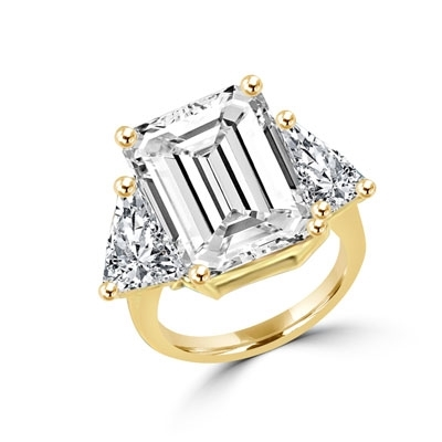 Designer Ring with 13.0 cts. Diamond Essence in center and triangle stones on each side. 21.0 Cts. T.W. set in 14K Solid Yellow Gold.