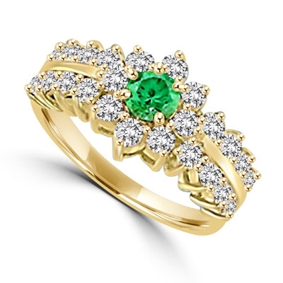 Greenpeace - 1.25 Carats Emerald Center is surrounded by supremely crafted masterpieces. In 14k Solid Yellow Gold.