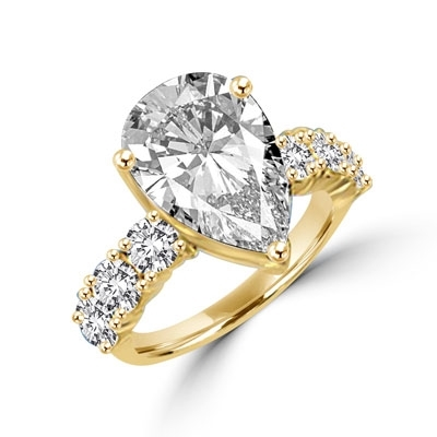Diamond Essence Ring with Pear cut Stone and Round Brilliants, 7.25 cts.t.w. - GRD3359