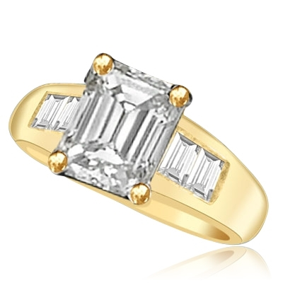 Prong Set Designer Ring with Simulated Emerald Cut Diamond and Brilliant Baguettes by Diamond Essence set in 14K Solid Yellow Gold