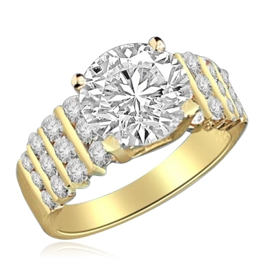 Ring – 3 ct round diamond, round jewels in ranks of gold