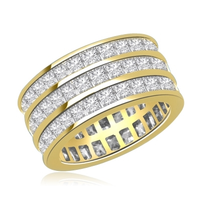 Wedding Eternity Ring with 3 rows of Square Cut Masterpieces going elegantly all around the band. 4 Cts. T.W, in 14K Solid Gold.