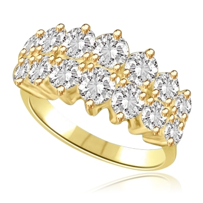 Prong Set Designer Ring with Artificial Round Brilliant Diamonds by Diamond Essence set in 14K Solid Yellow Gold