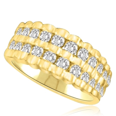 Channel Set Ribbed Ring with Lab-created Round Brilliant Diamonds by Diamond Essence set in 14K Solid Yellow Gold
