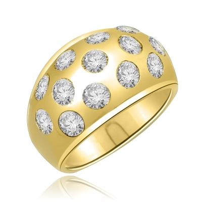 Rich in love is this band with 1.7 Cts Bezel set round brilliants sparkling thru a heavy set of 14K Solid Gold.