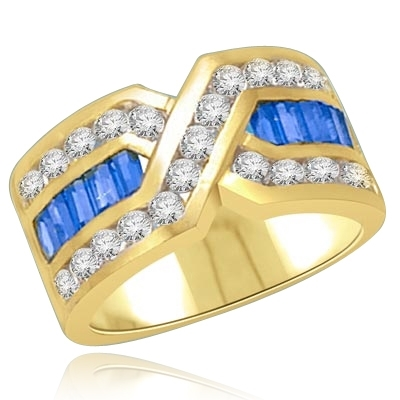 Tenderly- Sapphire 14K Solid Gold  ìXî ring 2.5 cts.t.w