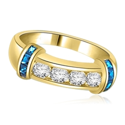 Brilliant channel-set Diamond Essence diamonds with a bar of Sapphire  Essence on either side. 1.35 cts. T.W. set in 14K Solid Yellow Gold.