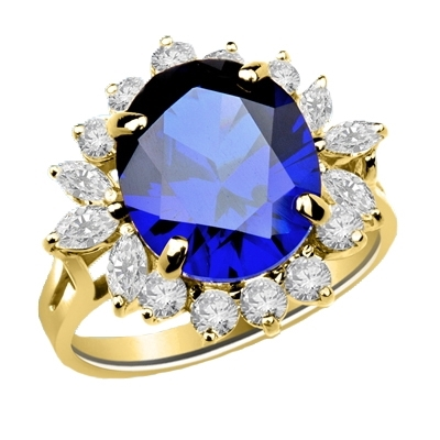 Amazingly beautiful Ring with White Brilliant Marquise and Round accents surrounding a 5 Ct. Blue Star Sapphire Cabochan Center, which in light will revel a Star! 14K Solid Gold.