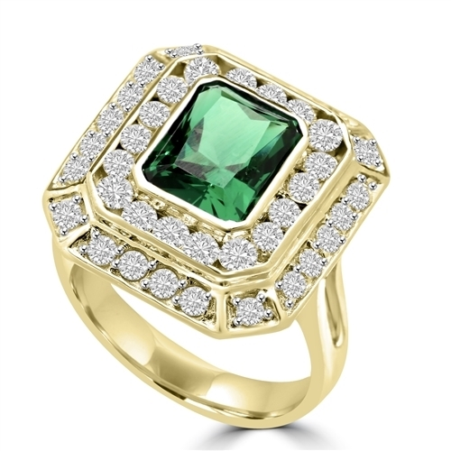 Diamond Essence Cocktail Ring With 2.50 Cts. Emerald Essence Radiant Emerald In Center Round Melee Around It, 4.50 Cts.T.W. In 14K Solid Yellow Gold.