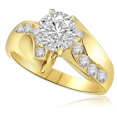 1ct round center and accents ring in Yellow Gold