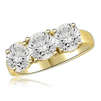 Three stone ring featuring Diamond Essence center stone and round accents, 3.0 cts. t.w. in 14K Solid Yellow Gold.