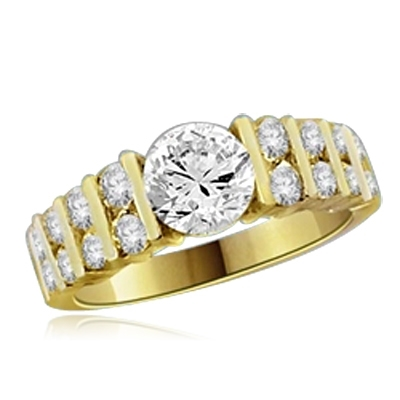 1 ct round diamond center stone ring in yellow gold