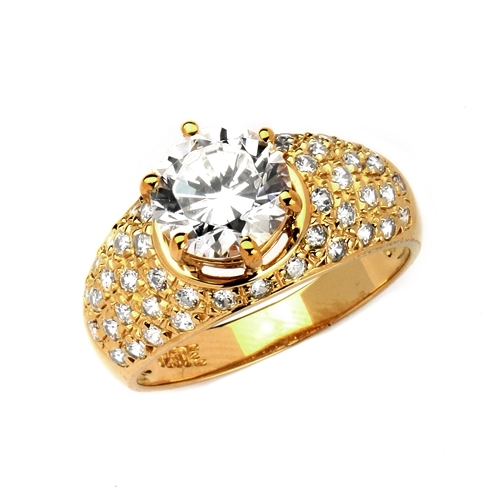 Heirloom - Brilliant Ring with 3 Cts. Round Diamond Essence Store atoning a fanfare band of Pave Set Melee Stones on each side. 3.25 Cts. T.W, in 14K Solid Gold.