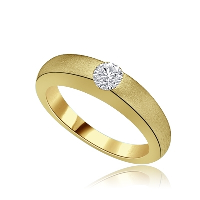 5ct round bazel set solitaire gold ring