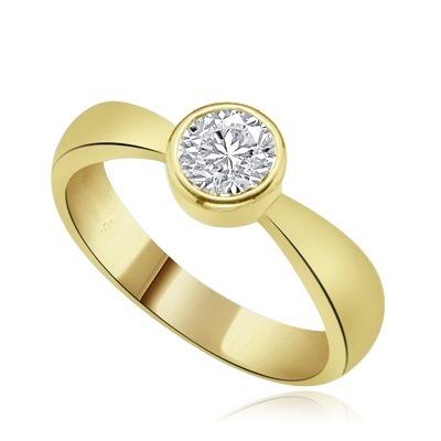 1ct round diamond essence stone in gold ring