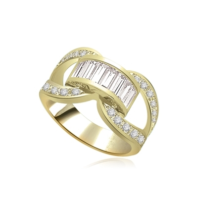 gold band-round stones on sides & baguettes center